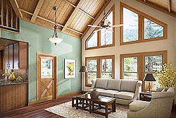 Foxtail - Great Room, beams, paneling, big view windows