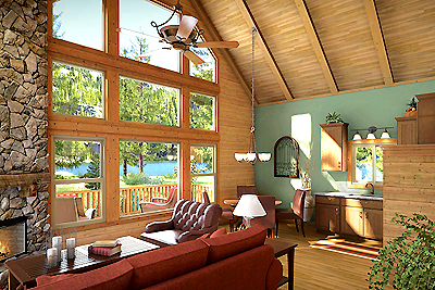 Hawksbeard interior, big windows, family kitchen, beams, paneling