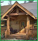 "Timber frame entry, large 8""-10"" Doug fir posts, beams, rafters"